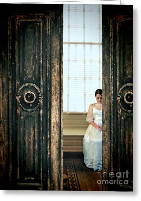 Beautiful Young Lady Sitting By A Window Greeting Card