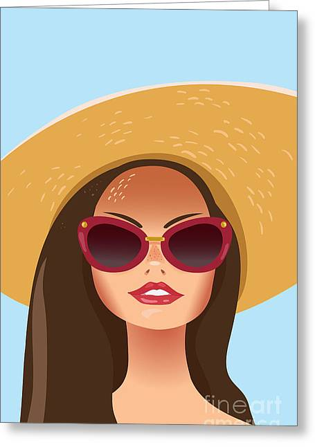 Beautiful Young Woman With Sunglasses Greeting Card