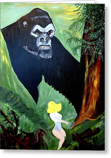 Greeting Card featuring the painting Beauty And The Beast by Nora Shepley