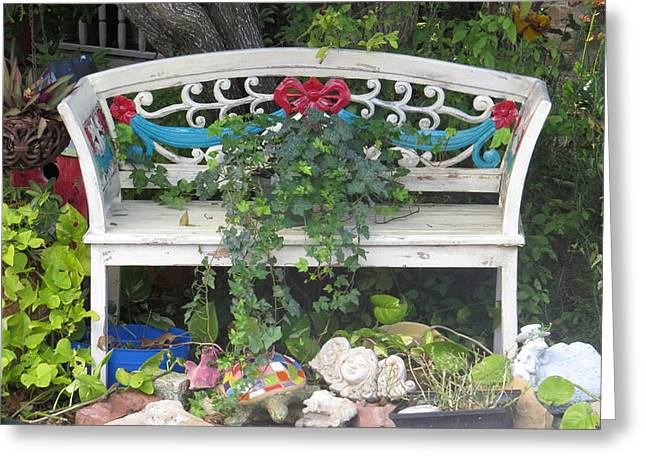Greeting Card featuring the photograph Beauty And The Bench by Ella Kaye Dickey
