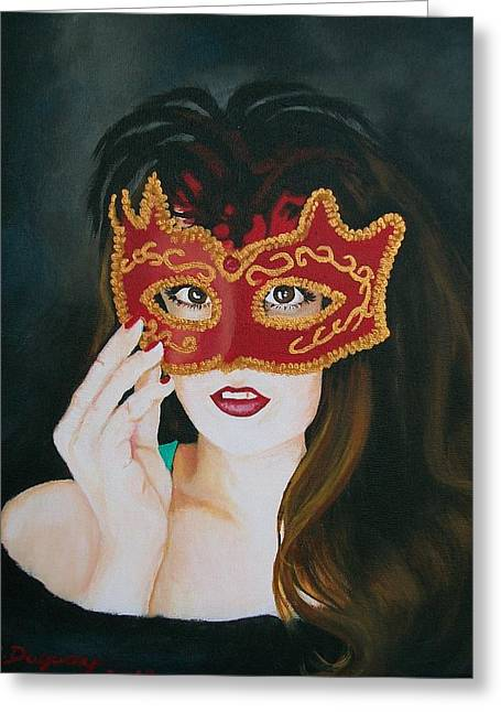 Beauty And The Mask Greeting Card by Sharon Duguay