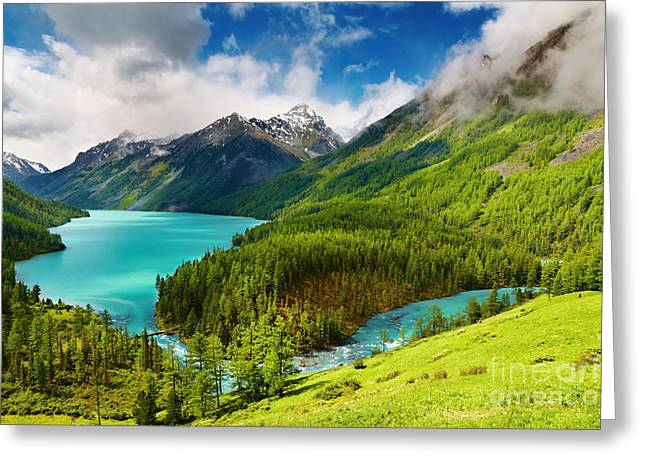 Beauty Mointain And Lake Greeting Card by Boon Mee
