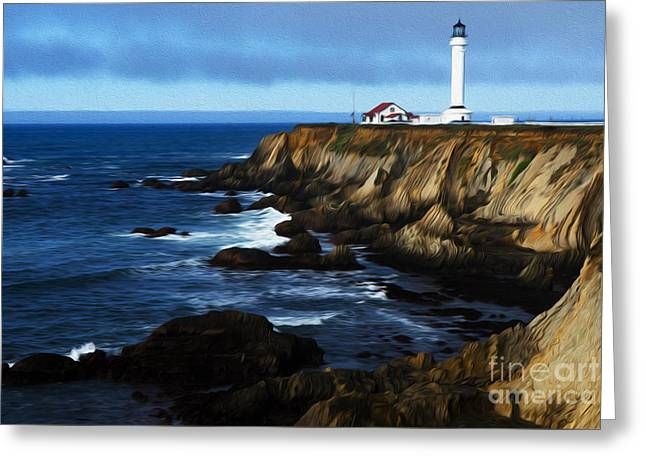 Beauty Of California Point Arena Lighthouse 1 Greeting Card by Bob Christopher