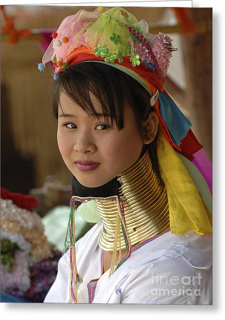 Beauty Of Thailand Long Necked Women 1 Greeting Card by Bob Christopher