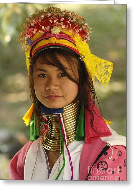 Beauty Of Thailand Long Necked Women 2 Greeting Card by Bob Christopher