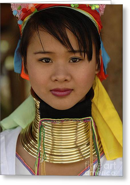 Beauty Of Thailand Long Necked Women 4 Greeting Card by Bob Christopher