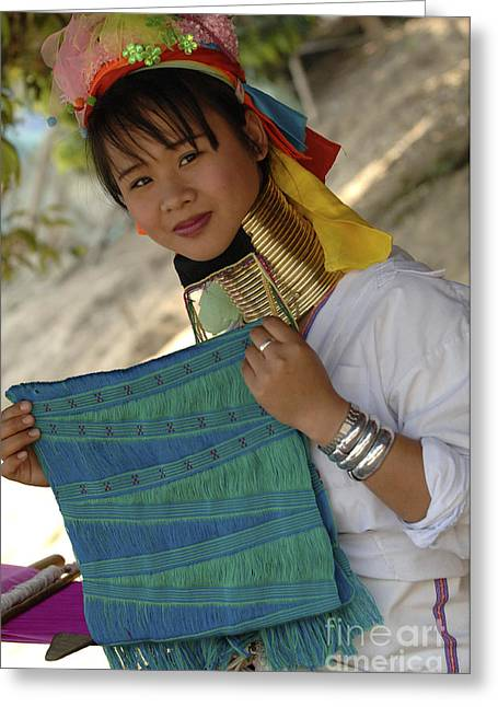 Beauty Of Thailand Long Necked Women 5 Greeting Card by Bob Christopher