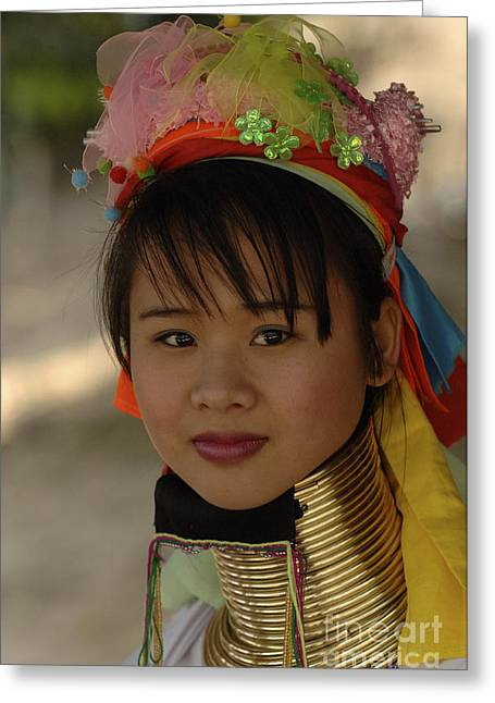 Beauty Of Thailand Long Necked Women 6 Greeting Card by Bob Christopher