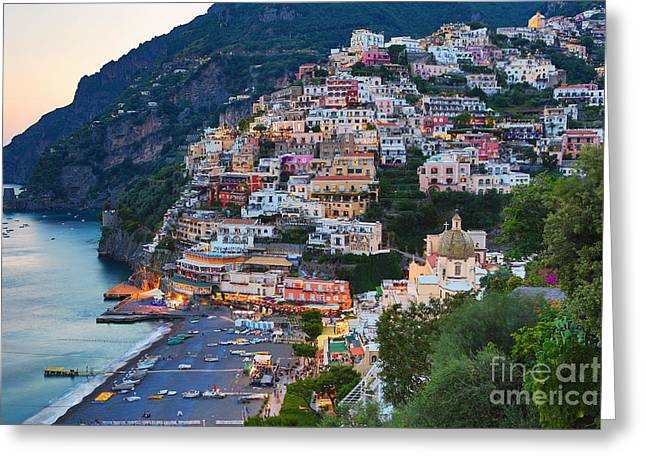 Beauty Of The Amalfi Coast  Greeting Card by Leslie Leda