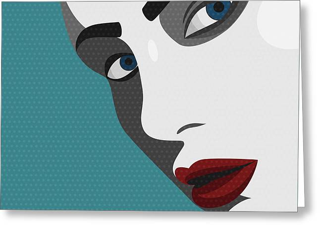 Beauty Pop Art Young Woman With Red Greeting Card