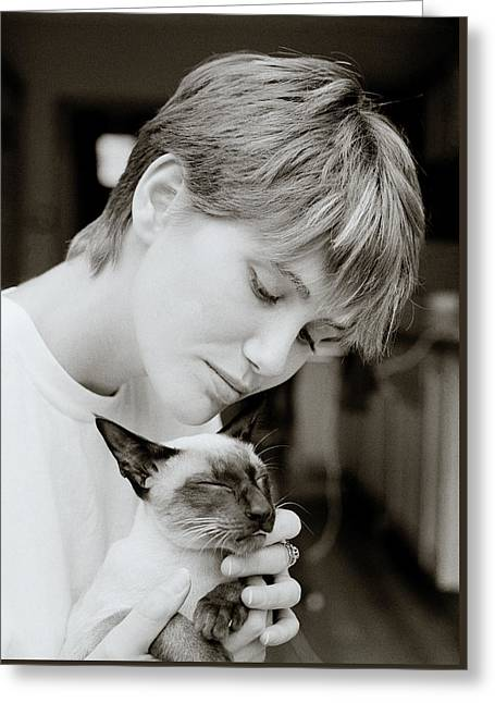 Beauty And The Cat Greeting Card by Shaun Higson