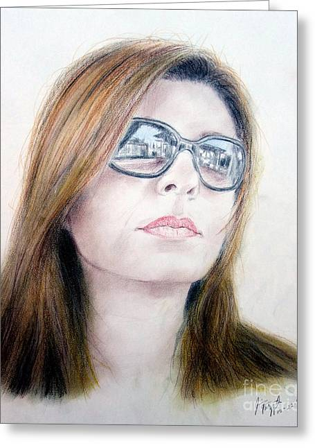 Beauty Wearing Sunglasss  Greeting Card by Jim Fitzpatrick