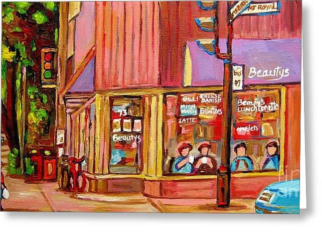 Beauty's Cafe Plateau Montreal Street Scene Brunch Deli Paintings Carole Spandau Greeting Card