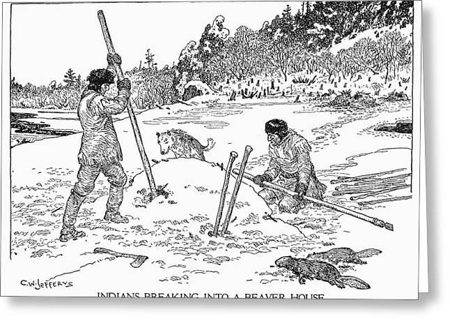 Beaver Hunting Greeting Card by Granger