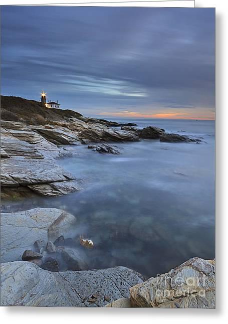 Beavertail Lighthouse Seascape Greeting Card