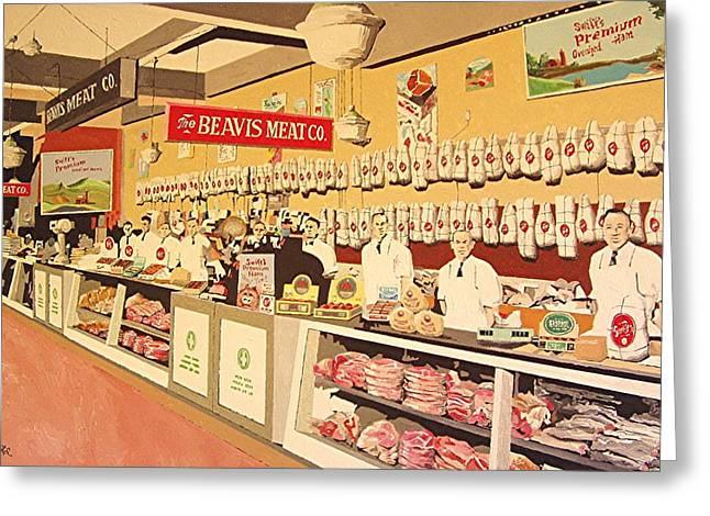 Beavis Meat In The Public Market Greeting Card by Paul Guyer