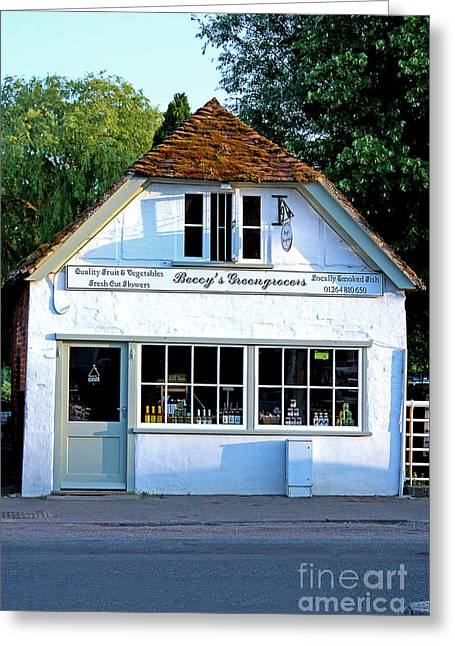 Beccy's Greengrocer Shop Stockbridge Greeting Card by Terri Waters