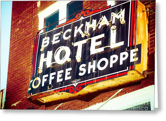 Beckham Hotel Sign Greeting Card by Sonja Quintero