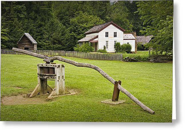 Becky Cable Farm House In Cades Cove Greeting Card