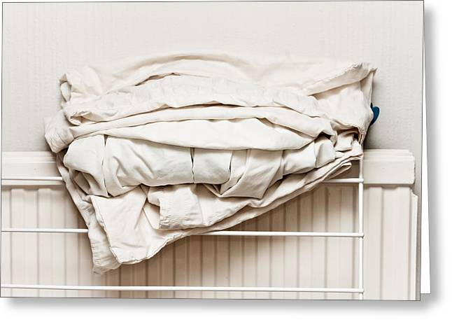 Bed Sheets Greeting Card by Tom Gowanlock