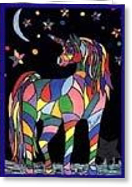 bedazzled Unicorn Greeting Card by Claire Decker