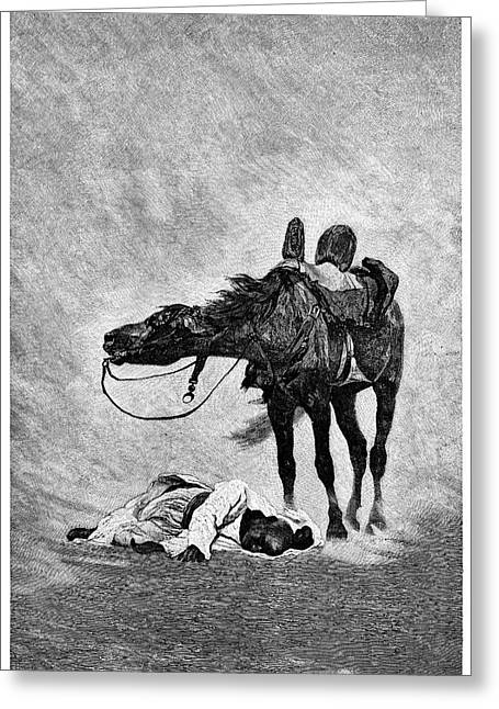 Bedouin And Horse In A Sandstorm Greeting Card by Science Photo Library