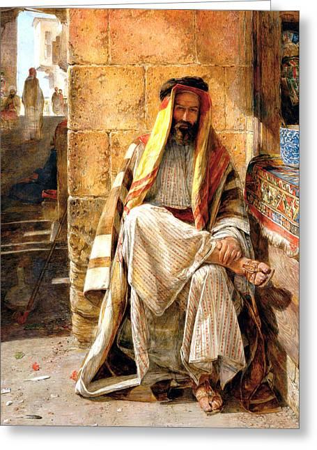 Bedouin Man Greeting Card by Munir Alawi