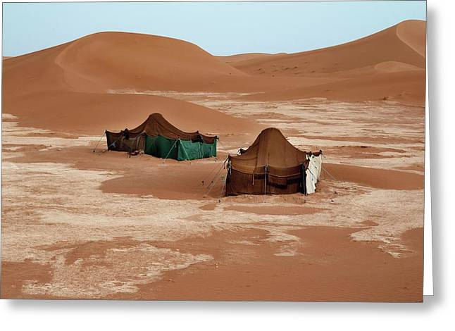 Bedouin Tents And Sand Dunes Greeting Card by Jon Wilson