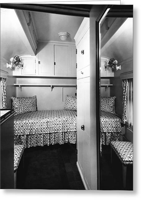 Bedroom On The Royal Train Greeting Card by Underwood Archives