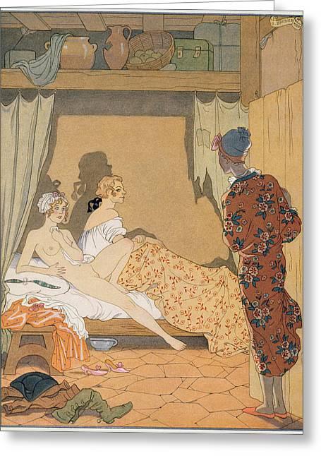 Bedroom Scene Greeting Card by Georges Barbier
