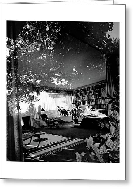 Bedroom Seen Through Glass From The Outside Greeting Card