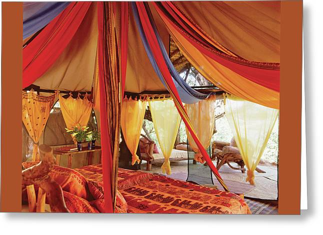 Bedroom With Multi Coloured Bed Canopy Greeting Card by Tim Beddow