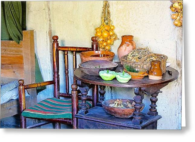 Bedside In A Pilgrim Cottage Greeting Card by Constantine Gregory