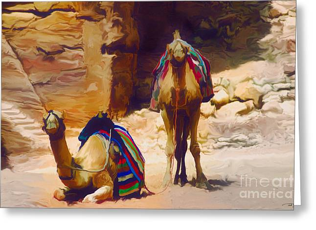 Bedu Camels On The Silk Road Greeting Card by Ted Guhl