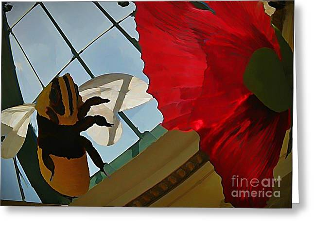 Bee And Flower Greeting Card by John Malone