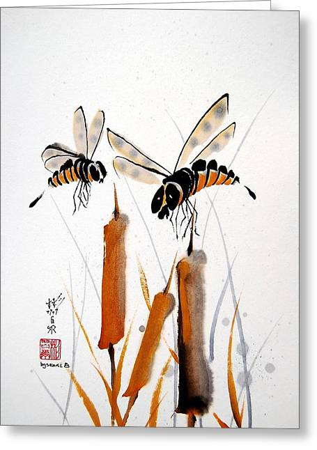 Greeting Card featuring the painting Bee-ing Present by Bill Searle