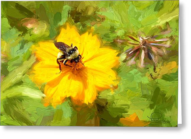 Bee On Flower Painting Greeting Card by Ludwig Keck