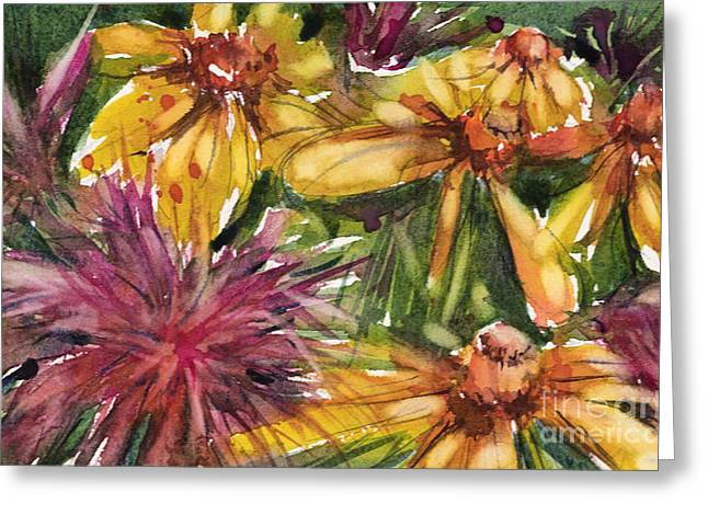 Beebalm And Heliopsis Greeting Card by Judith Levins