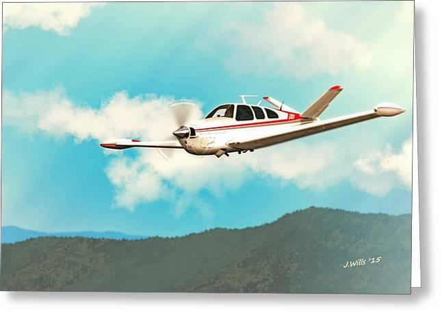 Beechcraft Bonanza V Tail Red Greeting Card