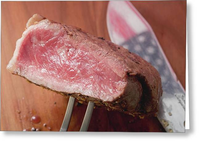 Beef Steak On Carving Fork (usa) Greeting Card