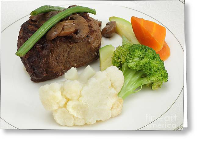 Beef Tournedos With Veg Greeting Card