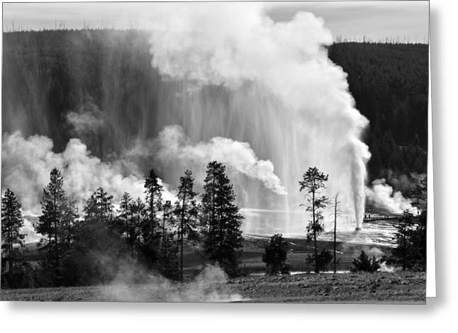 Beehive Geyser Shower In Black And White Greeting Card by Bruce Gourley