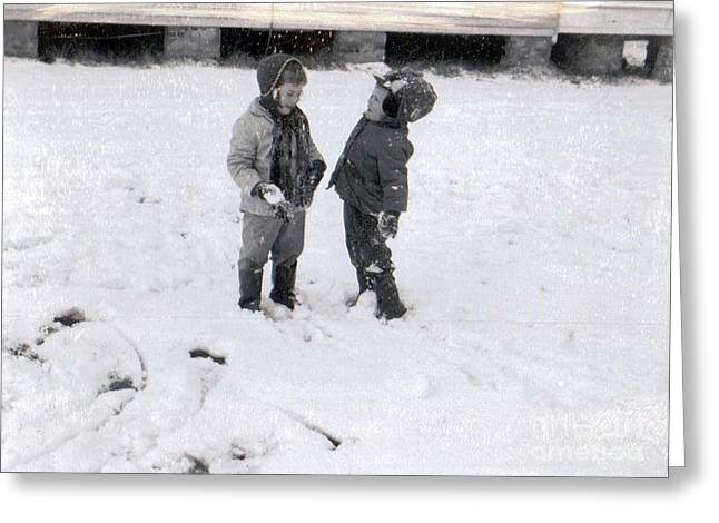 Beelily And Brother In The Snow Greeting Card