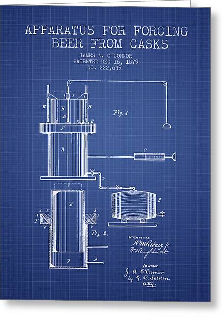 Beer Apparatus Patent From 1879 - Blueprint Greeting Card by Aged Pixel