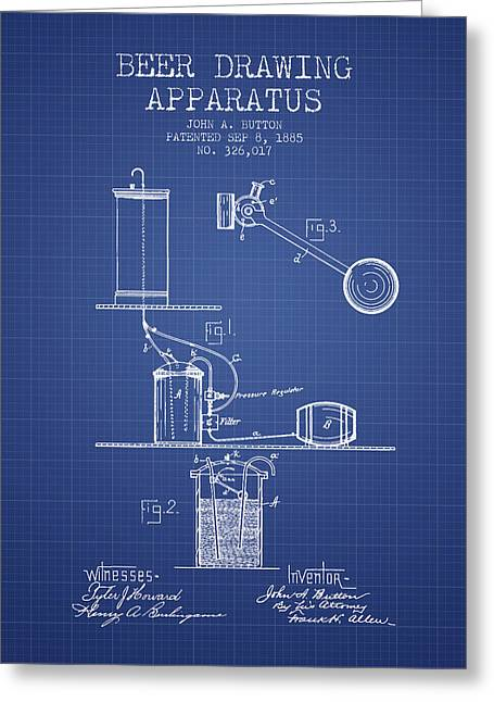 Beer Apparatus Patent From 1885 - Blueprint Greeting Card by Aged Pixel