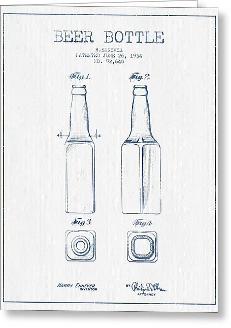 Beer Bottle Patent From 1934 -  Blue Ink Greeting Card by Aged Pixel