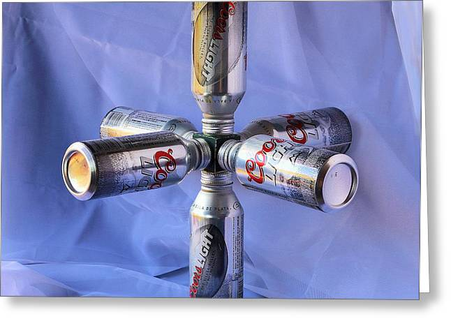 Beer Cans Space Station Greeting Card by Viktor Savchenko