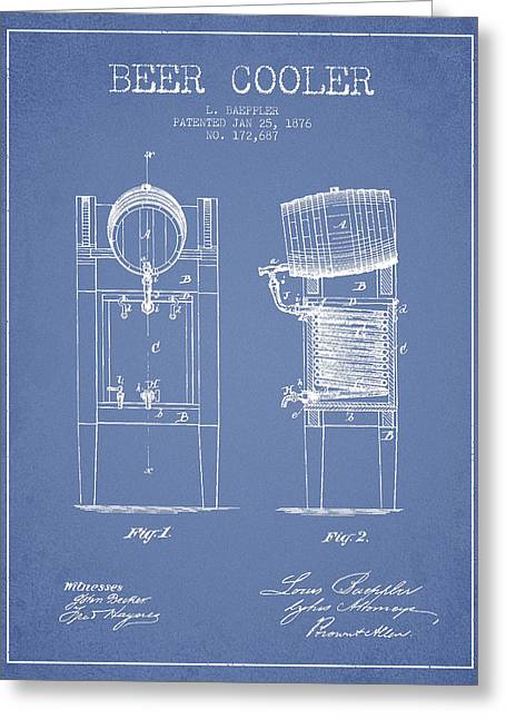 Beer Cooler Patent Drawing From 1876 - Light Blue Greeting Card by Aged Pixel