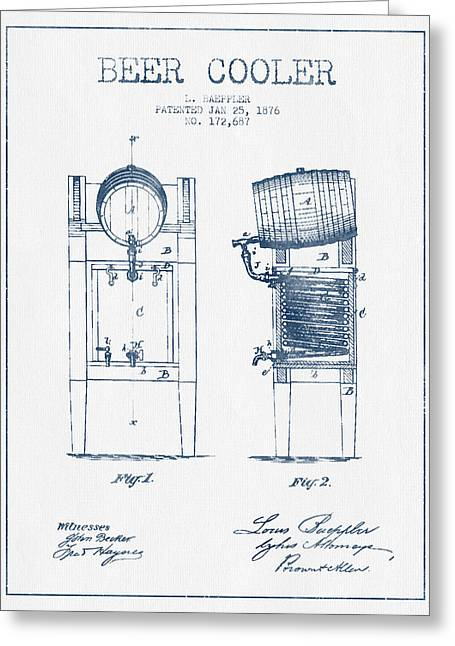 Beer Cooler Patent From 1876 -  Blue Ink Greeting Card by Aged Pixel