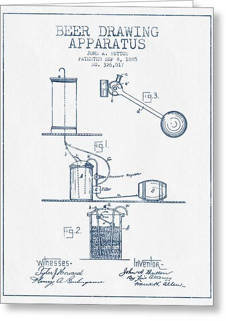 Beer Drawing Apparatus Patent From 1885 -  Blue Ink Greeting Card by Aged Pixel